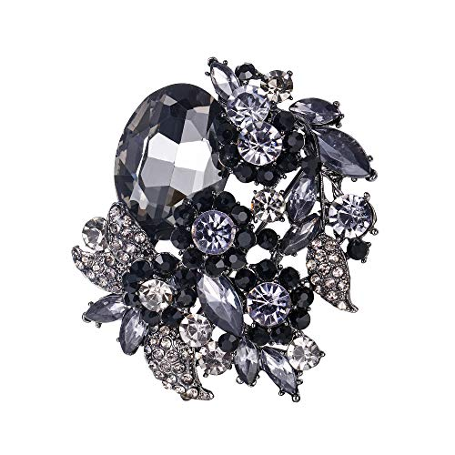 EVER FAITH Women's Rhinestone Crystal Party Flower Leaf Vine Brooch Black - Brooch Black Dress