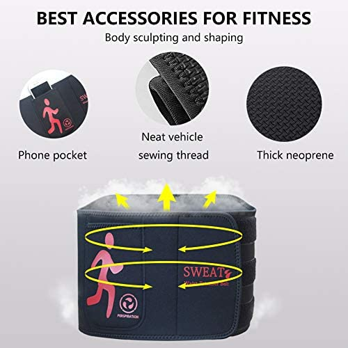 NOSUBO Sweat Waist Trainer Belt, Waist Trimmer with Pockets for Men & Women for Weight Loss 3