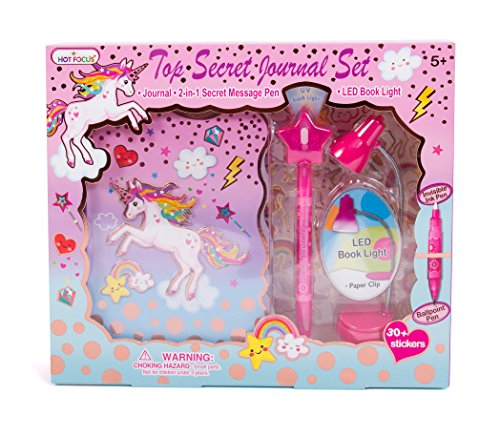 """Hot Focus Unicorn Secret Diary with LED Book Light, Invisible Ink Pen and Sticker Set – 6"""" Journal Notebook with 100 Double Sided Lined Pages for Kids (Light Set Book)"""