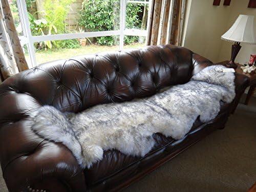 Starose New Zealand Genuine New Zealand Double Sized Sheepskin Rug White Grey Tipped