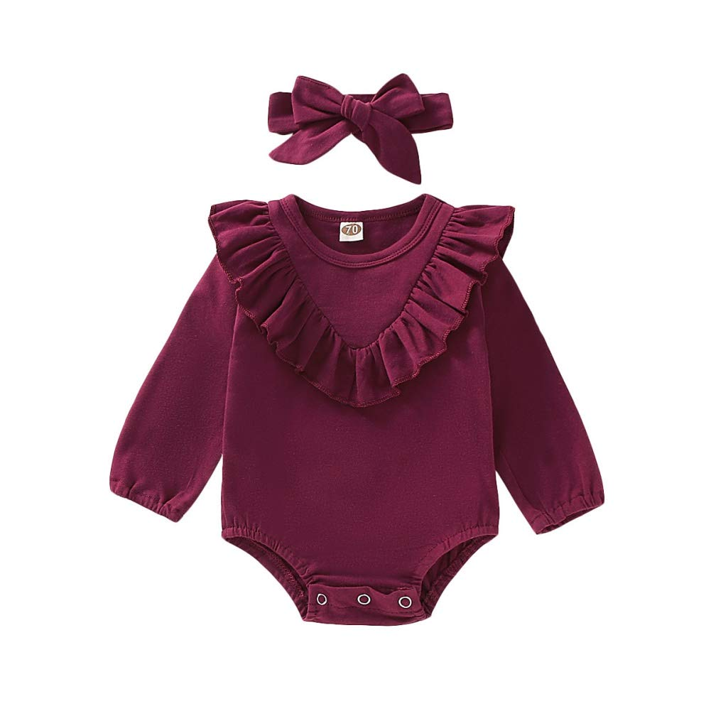 Miyanuby Infant Baby Girls Long Sleeve Ruffle Flower Print Rompers Bodysuit Clothes with Headband