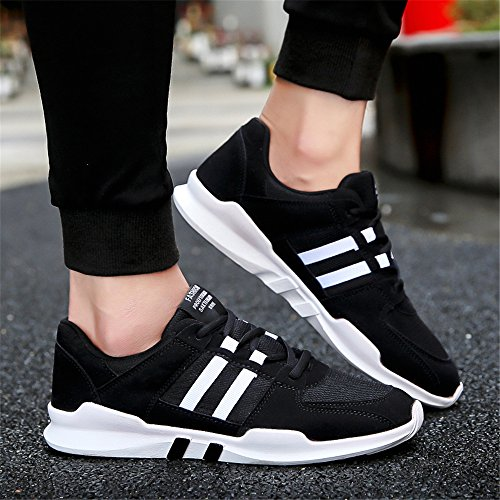 for FZDX Lightweight Men's up Shoes Soft Sport Black 010 Running Casual Lace Shoes Boys v4zwnvBxqr