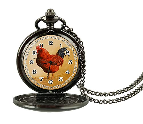 ecowcow Rhode Island Red Rooster Custom Classic Smooth Retro Roman Numeral Pocket Watch Necklace Pendant Men's (Autumn Island Pendant)