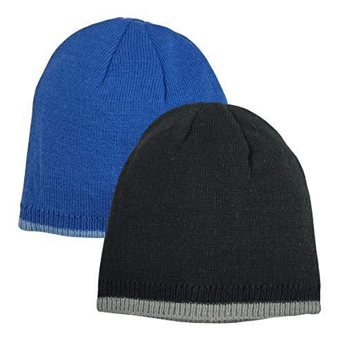 Gloves Knit Reversible - N'Ice Caps Baby Boys Reversible Double Layered Knit Beanies - 2 Hat Pack (Black/Silver & Royal/Lt Blue Reversible, 6-18 Months)