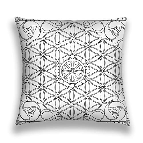 Xunulyn Throw Pillow Cushion Cover, Modern Art Print, Decorative Square Accent Pillow Case, 18 X 18 inches, Coloring Page Book Adults Square Format Flower LIF