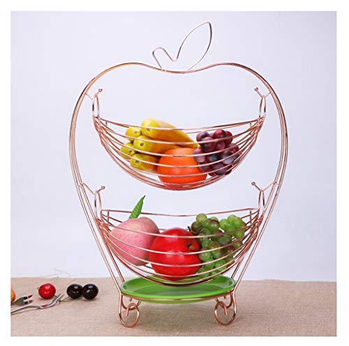 (Golden Fruit Basket, Double-layer Swing Storage Basket Fruit Bowl Living Room Decorative Plate Stainless Steel Drain Basket Candy Dish, Size [19×33×45cm] (Color : Rose gold))