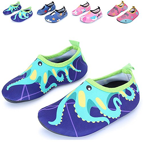 Kids Swim Water Shoes Girls Boys Lightweight Barefoot skin Shoes Mutifunctional Beach Pool Aqua Socks for Toddler Little Kid and Big Kid(34/35-Green octopus-XXL) -