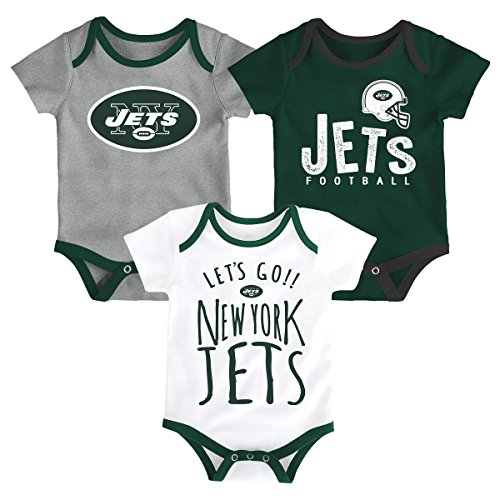 (Outerstuff NFL NFL New York Jets Newborn & Infant Little Tailgater Short Sleeve Bodysuit Set Hunter Green, 18 Months )