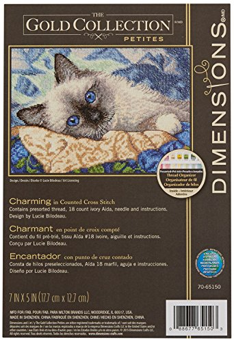Dimensions Gold Collection Counted Cross Stitch Kit, Charming Cat, 18 Count Ivory Aida, 7'' x 5''