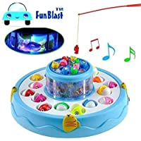 FunBlast® Fishing Game Toy Set with Double-Layer Rotating Board,Awesome Light and Music, 26 Fishes with 4 Fishing Poles, Available in 2 Different Colors (Blue)