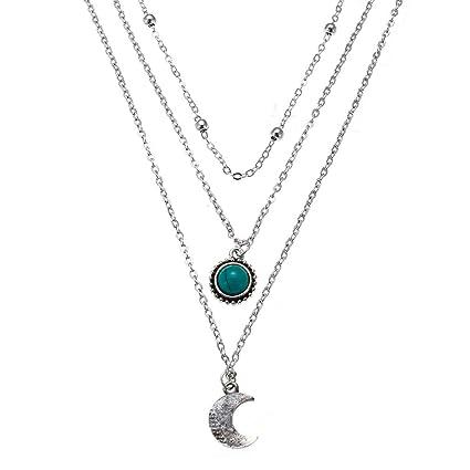 ec4af699e726b Amazon.com: DONGMING Vintage Moon Pendant Necklace Gemstone ...