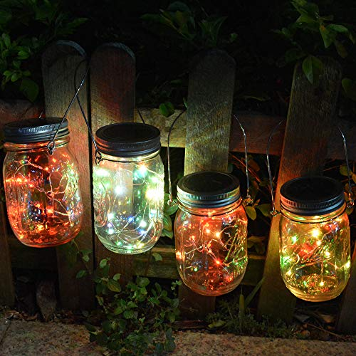(Homeleo 4 Pack 20 Led Color Changing Solar Powered Mason Jar Lights with Hangers for Outdoor Pathway Porch Table Yard Fence Decoration)