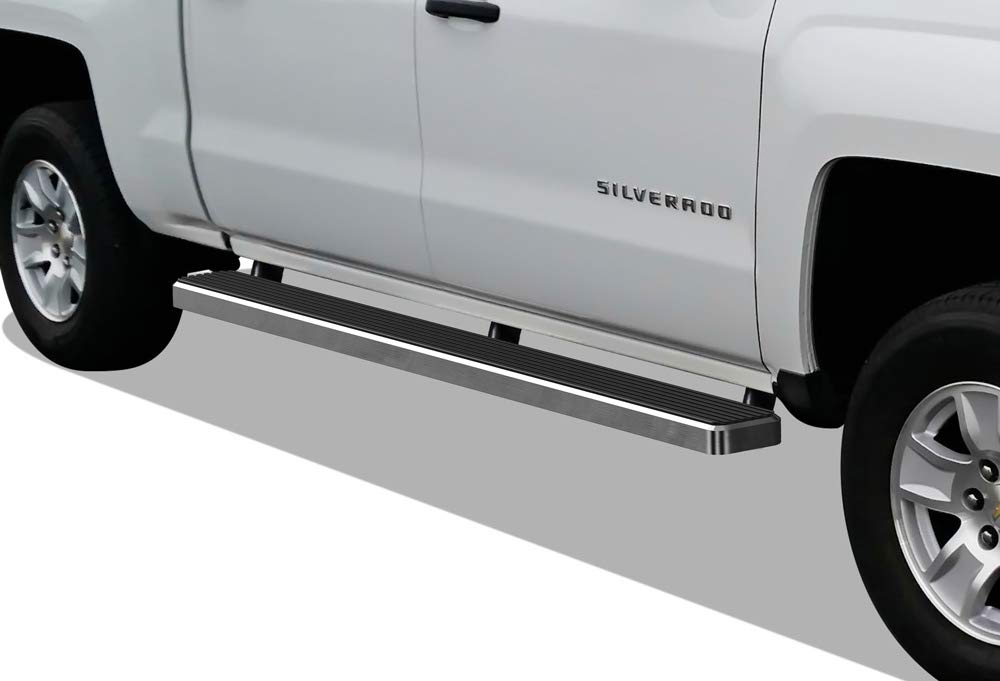 APS iBoard (304 Stainless Steel Polished Silver 5in) Running Boards Nerf Bars Compatible with 2007-2018 Chevy Silverado GMC Sierra Double/Extended Cab & 2019 2500/3500 HD (Excl. 07 Classic)