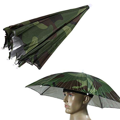 TTnight Umbrella Hat Cap, 26' Outdoor Fishing Gardening Folding Sunshade Rain Umbrella Headwear with Head Strap (Camo)