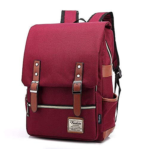 Kraptick Canvas Vintage Backpack for Laptop with Black Zipper, Canvas VintageTravel Backpack for Women Men, Canvas Vintage School College Backpack Fits 15 inch Notebook (Wine Red)