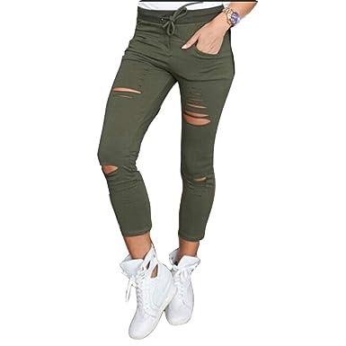 Pantalon Ete Femme Élastique Slim Fit Déchiré Pantalon Pantalons Crayon Elégante  Fashion Uni Manche Taille Haute 7dc43ab240c5