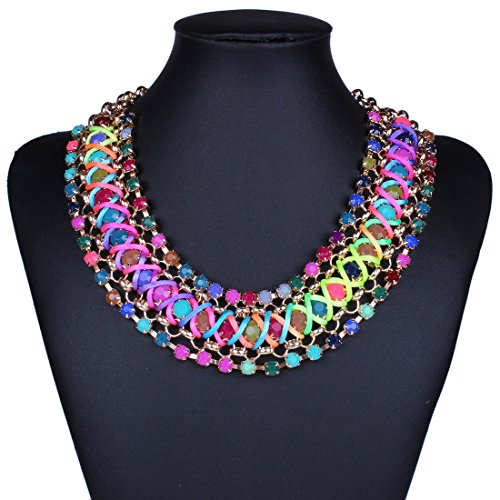 Girl's Funky Colorful Rainbow Colors Handmade Rope Woven Wide Chunky Necklace