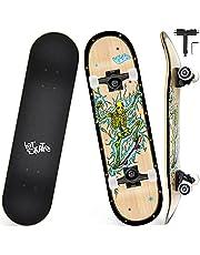 Skateboard voor beginners, 31 Inch Double Kick Standard Skateboard met 7-Layer Maple Deck, All-in-One Skate Tool, voor jongens en meisjes