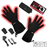 Battery Heated Universal Touchscreen Glove Liners, up to 6 hours of warmth at one recharge - improved 2014 model with free battery extention cable and free storage case - Glovii