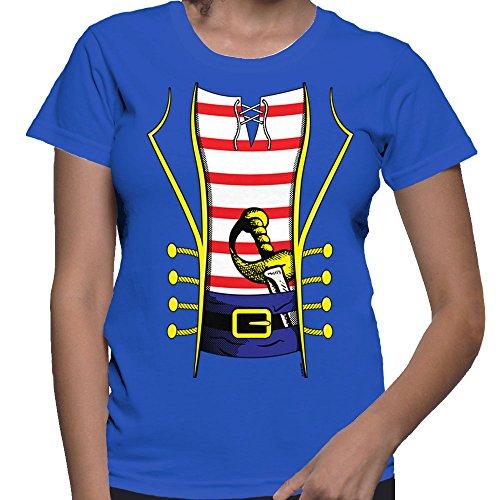Women's Pirate Costume T-Shirt (Royal, Medium) ()