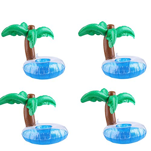 Floating Palm Island Drink Holder , Inflate Floating Coasters Inflatable Pool Palm Island Drink Coasters Cool Outdoor Swimming Bath Kiddie Toys Water Floating Coke Cup Drink Holder Flotation Devices Floats (Coconut trees x 4)