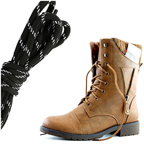 Dailyshoes Womens Militaire Lace Up Gesp Combat Laarzen Rits Sweater Enkel Hoge Exclusieve Creditcard Zak, Zwart Wit Tan Pu