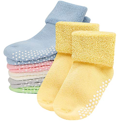 (Toddler Socks,Mossio 6 Set Infant Boys Girls Socks Cute Turn Cuff Slipper Gift Set 0-1 Years)