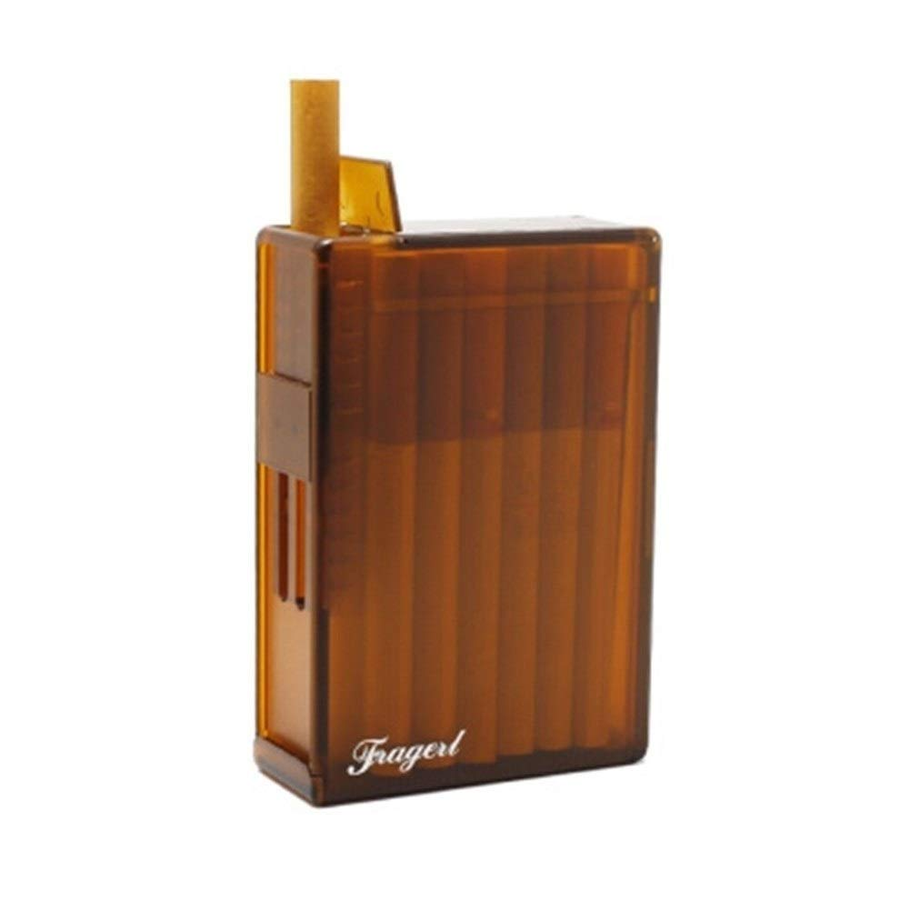 WENPINHUI Cigarette Case, 20 Pieces of Automatic Cigarettes, Moisture-Proof and Pressure-Resistant Fresh Creative Men's Cigarette Case (Color : Amber Brown) by WENPINHUI