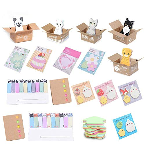 TUANTUAN 22 Packs Colorful Sticky Notes Cartoon Animal Sticky Note Memo Pad Self-Stick Note Bookmark Page Flags Index Tab Reminder, Random Style