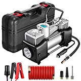 Yome Portable Dual Cylinder Air Compressor Pump, 12V 150PSI Heavy Duty Portable Air Pump with LED Flashlight and LCD...