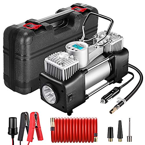 Yome Portable Dual Cylinder Air Compressor Pump, 12V Heavy Duty Portable Air Pump with LED Flashlight and LCD Digital Display Gauge for Car Tires, Balls, Other Inflatables (Best 12v Air Compressor)