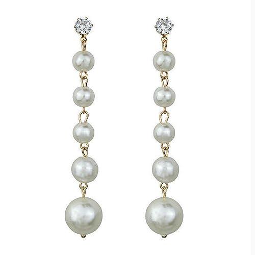 b2f2ae1ec90d arete largos con borla de perlas y cristales para mujer: Amazon.com ...