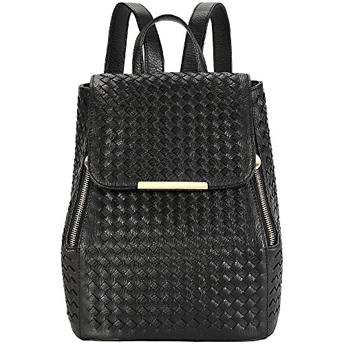 Ladies Backpack - RUVALINO Fashion Leather Back Pack for Women 100% Hand Made Daypack for Travel, Black