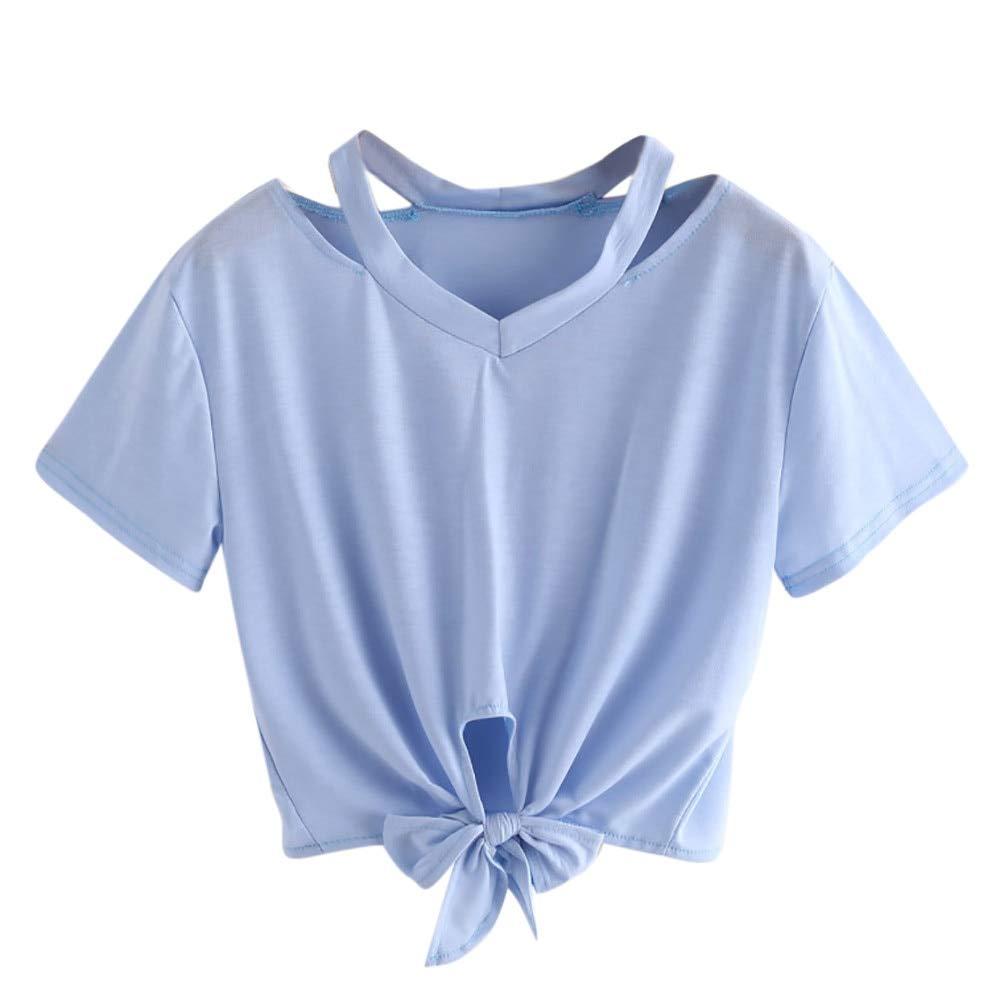 TYML Camiseta De Manga Corta para Mujer Moda Cuello Casual Cuello ...