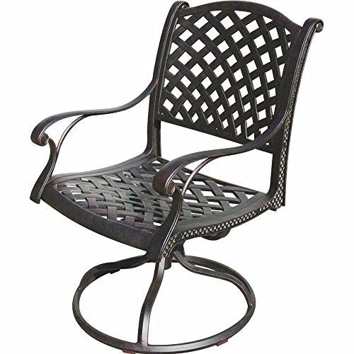 (K&B PATIO LD1031-11 Nassau Swivel Rocker Chair, Antique Bronze)