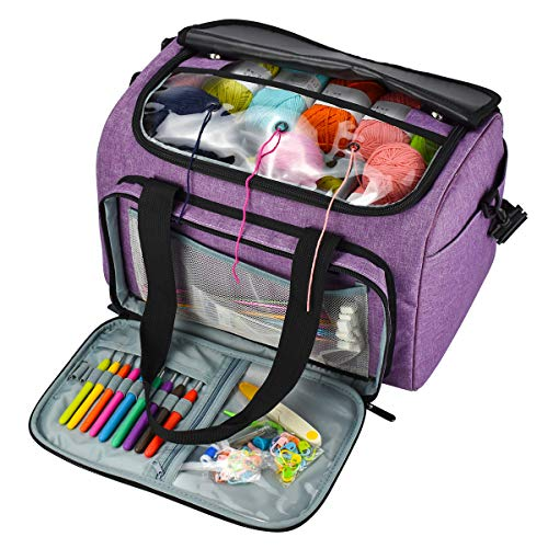 Looen Luxurious Knitting Bag with Shoulder Strap, Yarn Tote Organizer with Removable Inner Divider for Crochet Hooks, Knitting Needles,Bulk Yarn Project and Supplies,Accessories Not Included ()