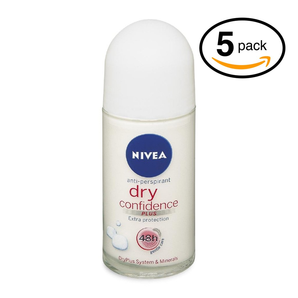 (Pack of 5 Bottles) Nivea DRY CONFIDENCE Women's Roll-On Antiperspirant & Deodorant. 48-Hour Protection Against Underarm Wetness. (Pack of 5 Bottles, 1.7oz / 50ml Each Bottle)