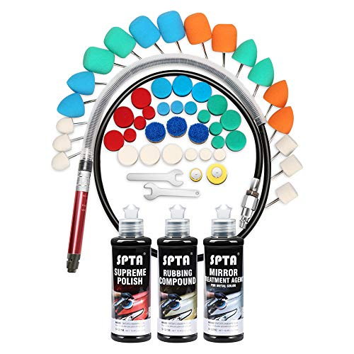 SPTA Air-powered Micro Die Grinder, Air Pencil Grinder Kit with Polishing Cones, Wool Polishing Pads Liquid Wax Rubbing Compound Polishing Sets, 53 pcs Kit for Polishing, Grinding and Waxing