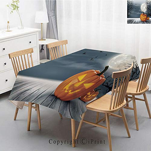 Premium Linen Printed Tablecloth,Ideal for Grand Events and Regular Home Use,Machine Washable,55x87 Inch,Halloween,Cold Foggy Night Dramatic Full Moon Pumpkins on Wood Board Trees Print,Grey -