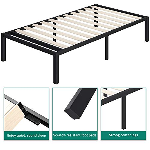 YITAHOME 14 Inch Metal Platform Twin Size Bed Frame Wood Slats Support Reinforced Mattress Foundation 300 Lbs, Heavy Duty No Box Spring Needed, Black