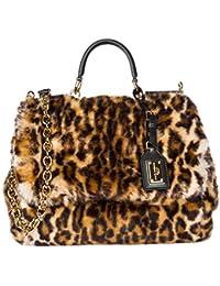 Dolce&Gabbana women's leather handbag shopping bag purse sicily Leo brown