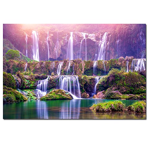 Interior Waterfall (Large Size Peaceful Dreamlike Waterfall Artwork Purple Modern Nature Landscape Art Painting Picture Print Painting for Hotel Bedroom Interior Wall Decor (No Frame(only Canvas) 36x48inch))