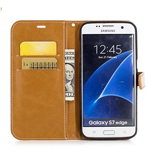 Samsung Galaxy S7 Edge Funda Negro, MEETER Libro PU Cuero Case Con Flip case cover, Cierre Magnético, Función de Soporte, Tarjeta y efectivo titular, Billetera con Tapa para Samsung Galaxy S7 Edge, Co Rosa