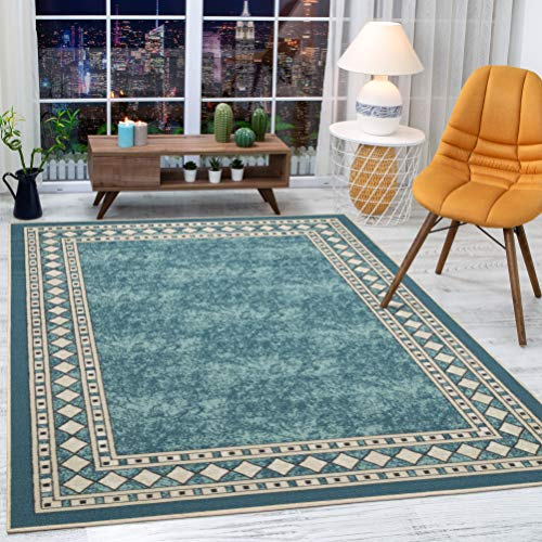 Antep Rugs Alfombras Modern Bordered 8×10 Non-Skid (Non-Slip) Low Profile Pile Rubber Backing Indoor Area Rugs (Blue, 8…