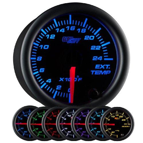 Exhaust Temperature Egt Gauge - GlowShift Black 7 Color 2400 F Exhaust Gas Temperature Gauge