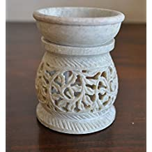 "StarZebra Gift Deals - Essential Oil Diffuser, Oil Burner, Oil Warmer with Tea Light Holder for Aromatherapy - Artisan Handcarved Soapstone 3"" with Intricate Elegant Tendril Openwork"