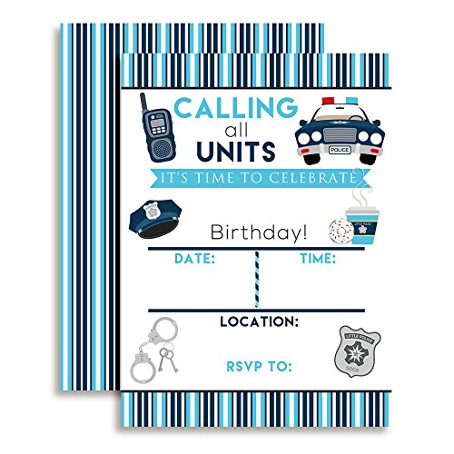 Police Officer Party Supplies (Policeman, Police Officer Birthday Party Fill In Invitations set of 10 with envelopes)