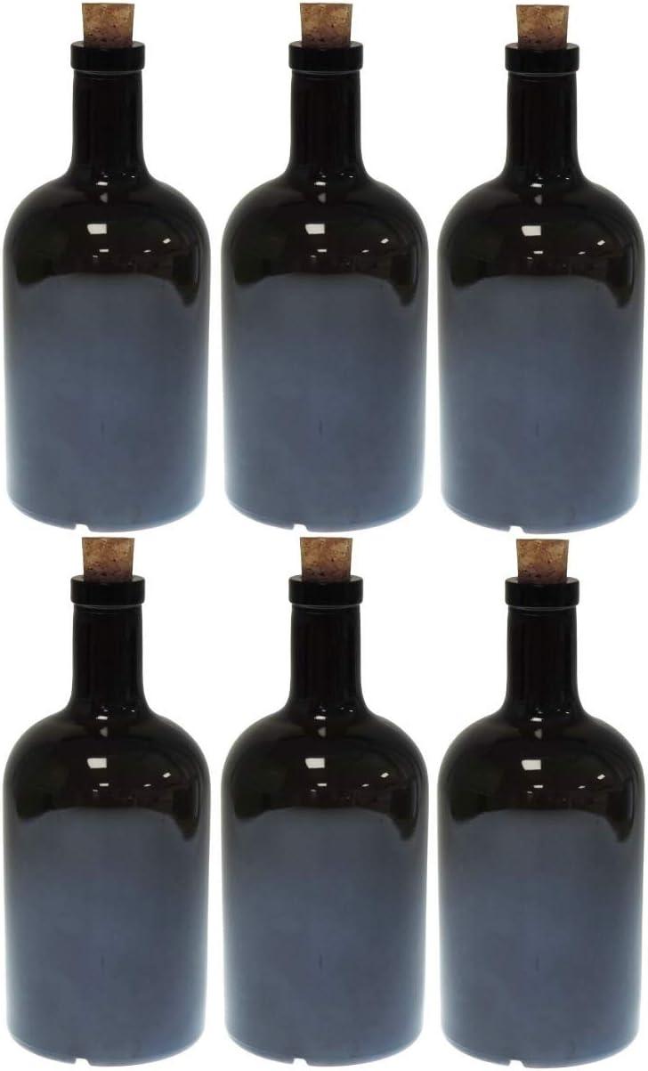 mikken 6 x verde/marrón botella de cristal 500 ml aceite botella con corcho
