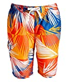 Kanu Surf Men's Barracuda Swim Trunks (Regular & Extended Sizes), Tahiti Denim/Orange, 2X