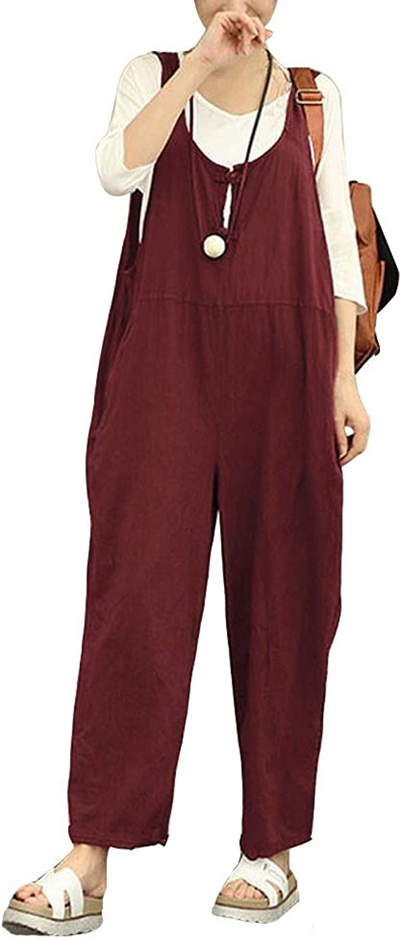 Hienaj Women S Casual Baggy Harem Jumpsuits Loose Low Crotch Wide Leg Bib Overalls Winered Amazon Ca Clothing Accessories
